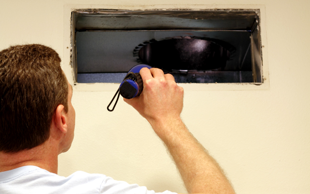 Repairman Assessing Air Duct