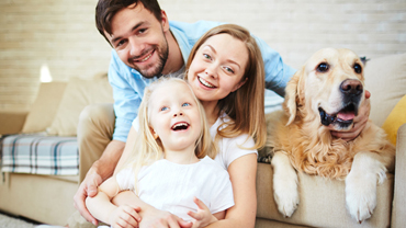Family enjoying clean indoor air in home