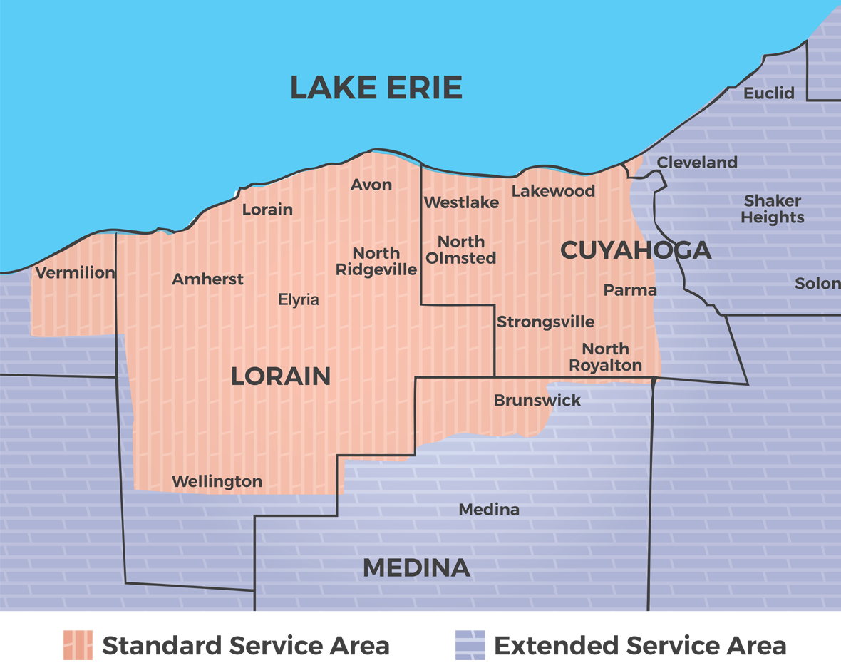 Service Area Map Lorain and Cuyahoga Counties